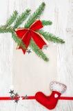 Kerstkaart met canvas, sterren, rode sok en spartak Royalty-vrije Stock Foto