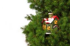 Kerstkaart met Ceramisch Huis Stock Afbeeldingen