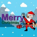 Kerstkaart met de Kerstman Stock Afbeelding