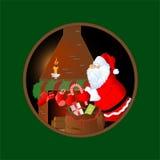 Kerstkaart met de Kerstman Stock Afbeeldingen