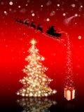 Kerstkaart met de Kerstman & Kerstboom Stock Foto