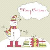 Kerstkaart met de sneeuwmens. Vector illustratie Stock Foto