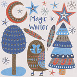 Kerstkaart met de winterbomen en sterren Royalty-vrije Stock Foto's