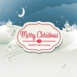 Kerstkaart met de winterlandschap Royalty-vrije Stock Afbeelding