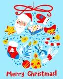 Kerstkaart met decoratiebal De winter seizoengebonden groet DE Royalty-vrije Stock Afbeeldingen