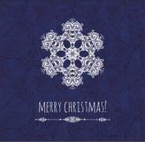 Kerstkaart met decoratieve sneeuwvlok malplaatjeontwerp Stock Fotografie