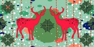Kerstkaart met deers Stock Afbeeldingen