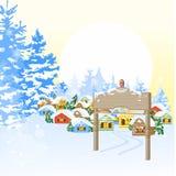 Kerstkaart met dorp Stock Afbeelding