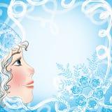 Kerstkaart met een babygezicht en sneeuwvlokken Royalty-vrije Stock Foto