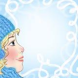 Kerstkaart met een babygezicht en sneeuwvlokken Stock Fotografie