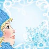 Kerstkaart met een babygezicht en sneeuwvlokken Royalty-vrije Stock Afbeelding