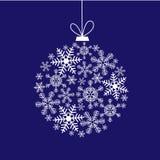 Kerstkaart met een bal van sneeuwvlokken Stock Fotografie