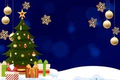Kerstkaart met een blauwe achtergrond met sterren en gouden ornamenten stock illustratie