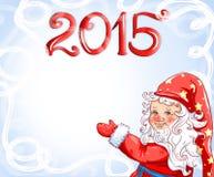 Kerstkaart met een gelukkige gnoom Stock Afbeelding