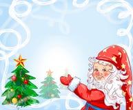 Kerstkaart met een gelukkige gnoom Royalty-vrije Stock Afbeelding