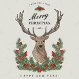 Kerstkaart met een hert vector illustratie