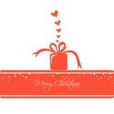 Kerstkaart met een het Houden van Gift Royalty-vrije Stock Afbeelding