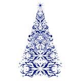 Kerstkaart met een Kerstboom Stock Foto