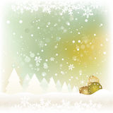 Kerstkaart met een Landschap Stock Foto's