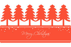 Kerstkaart met een Rij van Bomen Royalty-vrije Stock Afbeeldingen