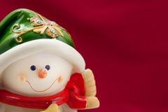 Kerstkaart met een sneeuwman Royalty-vrije Stock Afbeeldingen