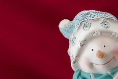 Kerstkaart met een sneeuwman Stock Foto