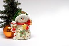 Kerstkaart met een sneeuwman Stock Afbeeldingen