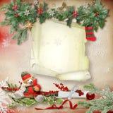 Kerstkaart met een verfraaide groene tak en speelgoed en met een lege plaats voor tekst royalty-vrije stock afbeelding