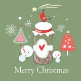 Kerstkaart met een vogel op de bank stock illustratie