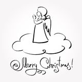 Kerstkaart met Engel Stock Afbeelding