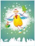 Kerstkaart met engel Stock Foto