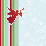 Kerstkaart met engel en fluit Stock Fotografie