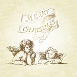 Kerstkaart met engelen Royalty-vrije Stock Afbeelding