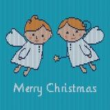 Kerstkaart met engelen Stock Afbeelding