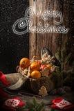 Kerstkaart met fruit appelen, sinaasappelen, mandarijnen, bananen stock afbeelding