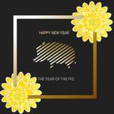 Kerstkaart met gele bloemen en everzwijn Het Jaar van het Varken Symbool van nieuw jaar Royalty-vrije Stock Fotografie
