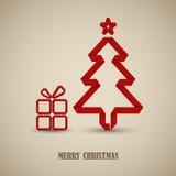 Kerstkaart met gevouwen rood document boommalplaatje Stock Foto's
