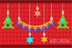Kerstkaart met giften en rode sterren Stock Foto's