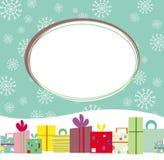 Kerstkaart met giften en sneeuwvlokken Stock Afbeelding