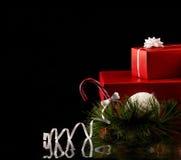 Kerstkaart met giftvakjes Stock Foto