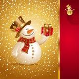 Kerstkaart met glimlachende sneeuwman Royalty-vrije Stock Foto's