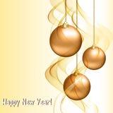 Kerstkaart met gouden ballen stock illustratie