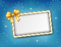 Kerstkaart met gouden lint en suikergoedkader Stock Foto