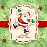 Kerstkaart met grappige Kerstman en teksten Stock Fotografie