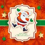 Kerstkaart met grappige Kerstman en teksten Royalty-vrije Stock Fotografie