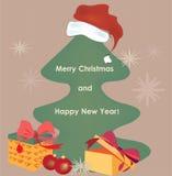 Kerstkaart met Heden met Gouden Lint Royalty-vrije Stock Foto's
