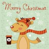 Kerstkaart met herten Stock Afbeeldingen