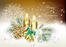 Kerstkaart met het branden van kaarsen, klokken Royalty-vrije Stock Foto's