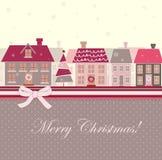 Kerstkaart met huizen Royalty-vrije Stock Afbeelding