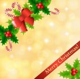 Kerstkaart met hulst en suikergoed royalty-vrije illustratie